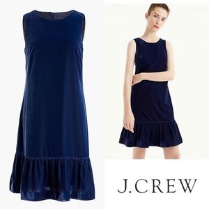 J Crew Navy Blue Velvet ruffle-hem dress Size 2